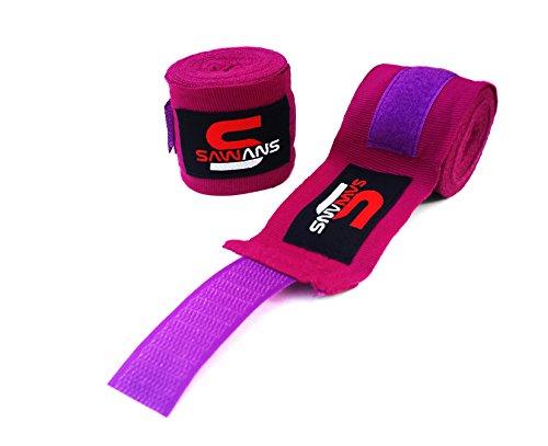 SAWANS Power Handbandage Innere Handschuhe Bandagen MMA Boxen Muay Thai mexikanischen Stretch 3,5Meter, violett Innere Handschuhe