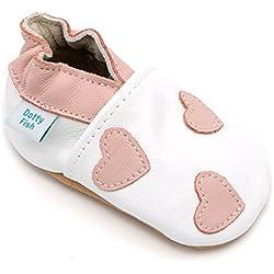 Dotty Fish - Zapatos de cuero suave para bebés - Niñas - Blancos y corazones rosados - 6-12 Meses