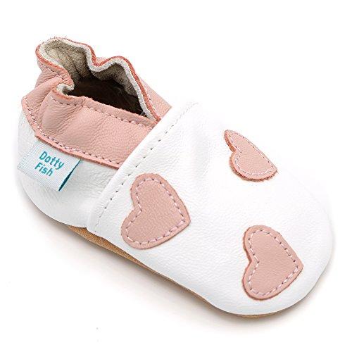 Dotty Fish - Scarpine in pelle prima infanzia - Ragazza - cuori bianchi e rosa - 12-18 Mesi