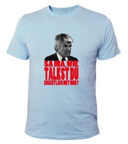 Mister Merchandise Cooles Herren T-Shirt Samma, wie talkst du eigentlich mit mir? , Größe: XL, Farbe: Hellblau