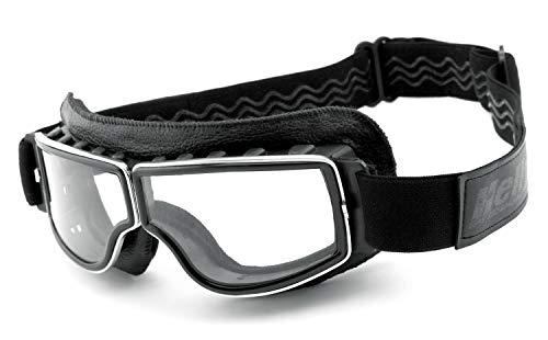 Helly® - No.1 Bikereyes® | beschlagfrei, winddicht, HLT® Kunststoff-Sicherheitsglas nach DIN EN 166 | Motorradbrille | Brillengestell: schwarz, chrom/silber matt, Brille: 1360bc-n klar
