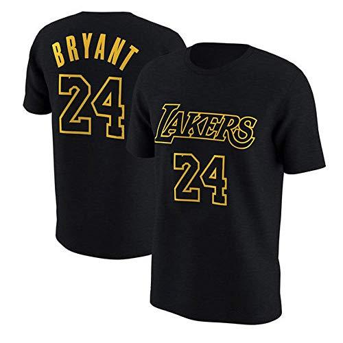 T-shirt NBA L.A Lakers Kobe Bryant Kurzarm Retired Gedenk Fan Jersey Baumwolle # 8# 24 Basketball Sport Herren Weste Black #24-XL -