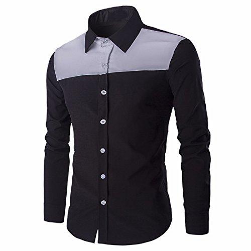 QIYUN.Z Männer Lange Ärmel Knopf Unten Slim Fit Lässig Ebene Shirt-Kleid Hemd Schwarz-79
