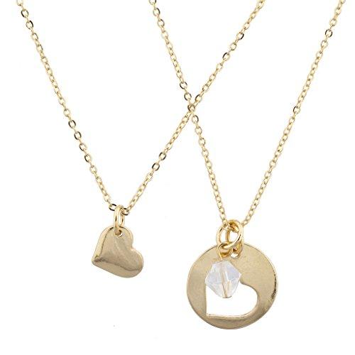 Lux Accessories Halsketten-Set für beste Freunde, Goldton, Ausschnitt mit Herzform (2-teilig) (Schwarzer Samt Choker Mit Perlen Edelstein)
