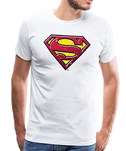 Kostüm Of Mann Kent Clark Steel - Spreadshirt DC Comics Superman Logo Used Look Männer Premium T-Shirt, XL, Weiß