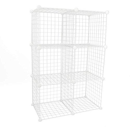 BEMATIK.COM BeMatik - Armario organizador modular Estanterías de 6 cubos de 35x35cm metal blanco