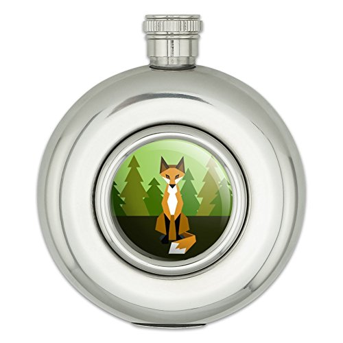 Runde Edelstahl Flachmann Geometric Tiere Fuchs Orange