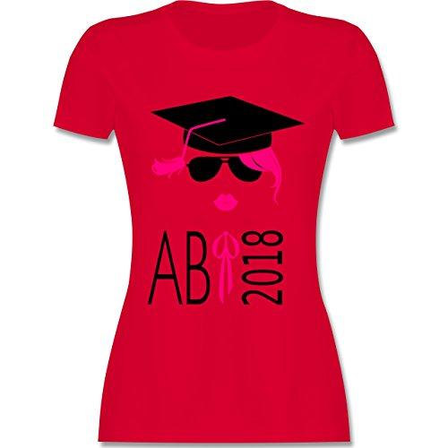 pster Abi 2018 Kussmund - XL - Rot - L191 - Damen T-Shirt Rundhals (Rote Schleife Brille)