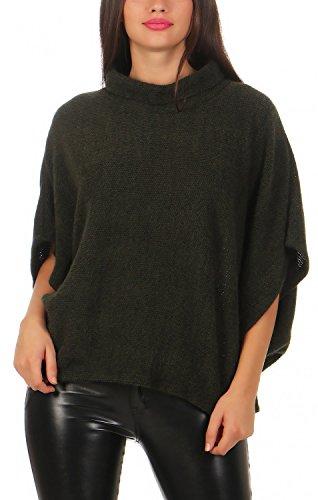 Poncho Blusen Damen Für (Damen Poncho ( viele Farben Nr. 582 ), Farbe:Khaki)