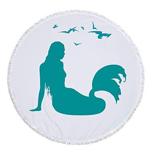 JUNYZSTJ Toalla Playa Redonda borlas Sirena Creativa