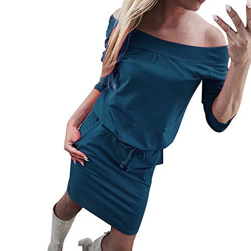 Longra Damen Kleider Langarm Herbst Kleider Knielang T Shirt Kleid Schulterfreie Partykleid Damen...