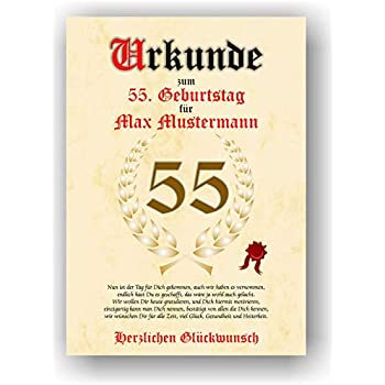 Urkunde Zum 55 Geburtstag Glückwunsch Geschenkurkunde Personalisiertes Geschenk Mit Name Gedicht Und Spruch Karte Präsent Geschenkidee Mann Frau