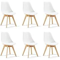 Designetsamaison Lot de 6 chaises scandinaves Blanches - Bjorn