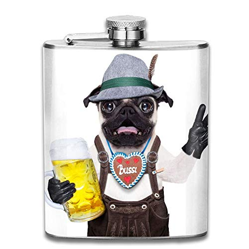 Gxdchfj Silly Crazy Pug Dog Dressed Up As Bavarian with Gingerbread As Collar Isolated On White New Brand 304 Stainless Steel Flask 7oz -