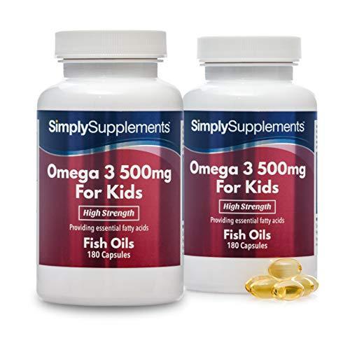 Omega 3 für Kinder 500mg - 360 (180+180) Kapseln - Versorgung für bis zu 1 Jahr - für Kinder von 5-14 Jahren - Förderung der gesunden Entwicklung von Auge und Hirn - Simply Supplements