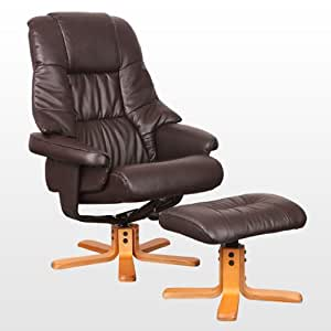 SORENTO REAL LEATHER BROWN SWIVEL RECLINER ARMCHAIR CHAIR with FOOT STOOL