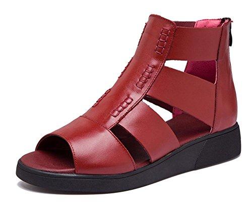 chaussures de mode d'été avec des sandales pente de la plate-forme sandales femmes rondes wine red