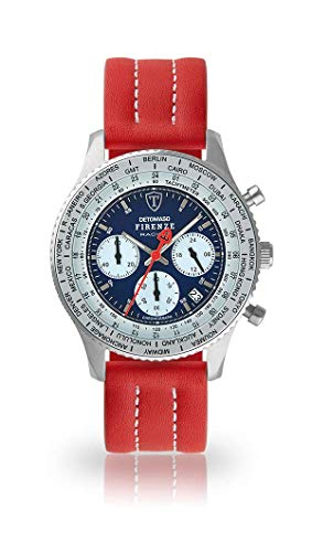DETOMASO Firenze Racing Mens Watch Chronograph Analogue Quartz Red Leather Strap Blue Dial DT1069-A-893