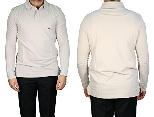 MMUGA Langarm Herren Poloshirt muga Beige