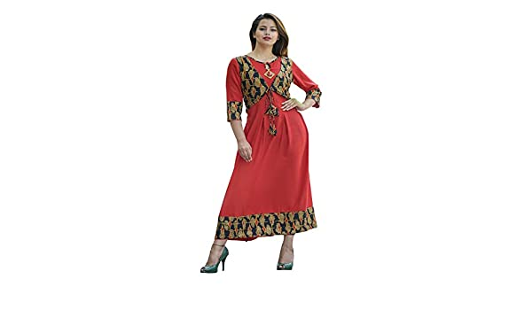 5dc1d95dfdc V. O. COUTURE Red Rayon Straight Long Dress With Jacket Style   Bandal Gold  Print Womens Designer Kurti Dress