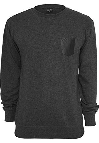 URBAN CLASSICS - Contrast Pocket Crewneck (charcoal/leather), Gr. L (T-shirt Pocket Crewneck)