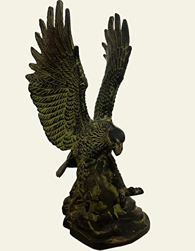 Antiques World Vintage Brass Moustaches Flying Eagle Showpiece Figurine Home Décor Wings Statue Fantasy Magic Fine Collectible Art Sculpture Metal Abstract Creative Landing Eagle Statue AWUSAAS 017 -