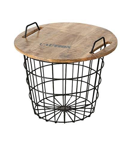 Wadiga Table Basse Ronde Style Industriel en Bois et Métal Flexo