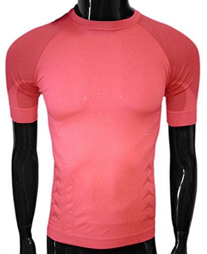 Maglietta traspirante da running a maniche corte termica sport Fitness T-shirts Quick Dry Stretch Fitness ROSA