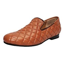 Bareskin Tan Color Hand Finished Genuine Leather Diamond Stitched Loafer Shoes for Men Size-6