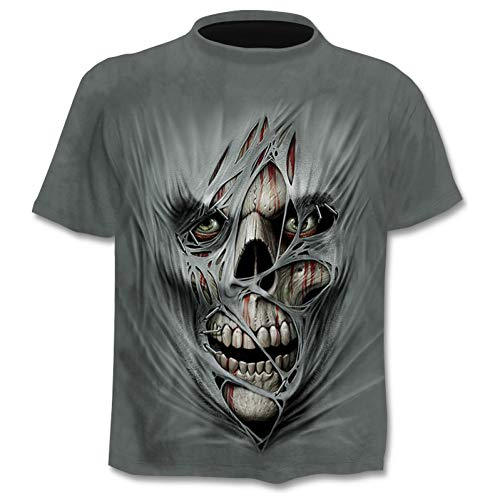 NSDX Herren 3D T-Shirt Schwarz Anime T-Shirt Männer Schädel T-Shirt Gothic 3D Print T-Shirt Punk Rock Kleidung Casual Hip Hop Herren Bekleidung S-4Xl (Punk-rock-kleidung Für Frauen)