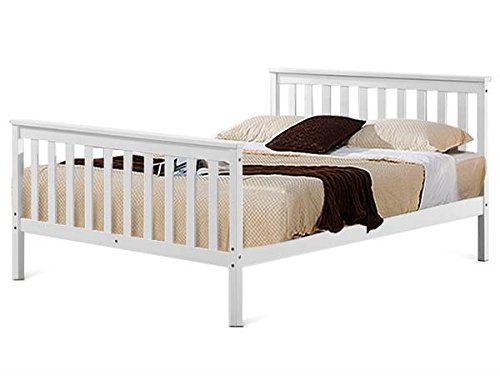 Popamazing White Double Wooden Bed Frames 4FT 6 Bedstead Queen Size Mattress Foundation