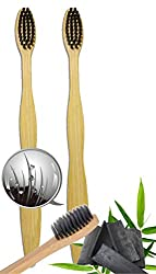 Natural Bamboo Charcoal Toothbrush - 100% Organic, Biodegradable and Eco-Friendly Toothbrush with Extra Slim Soft BPA-Free Bristles - 2pc Set