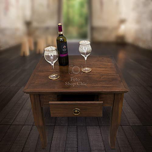 Tavolo Quadrato Arte Povera.Shop Chic Tavolino Basso Quadrato Da Salotto In Legno Noce Arte