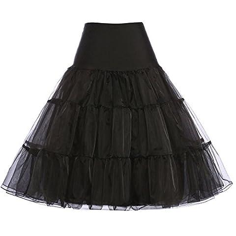 Damen 50s vintage petticoat rockabilly schwarz festliche röcke unterrock kurze reifröcke S
