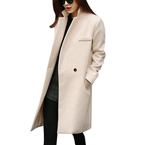 Damen Lange Mantel Trenchcoat Übergangsjacke Faux Wollmantel Parka Covering Outwear L Beige