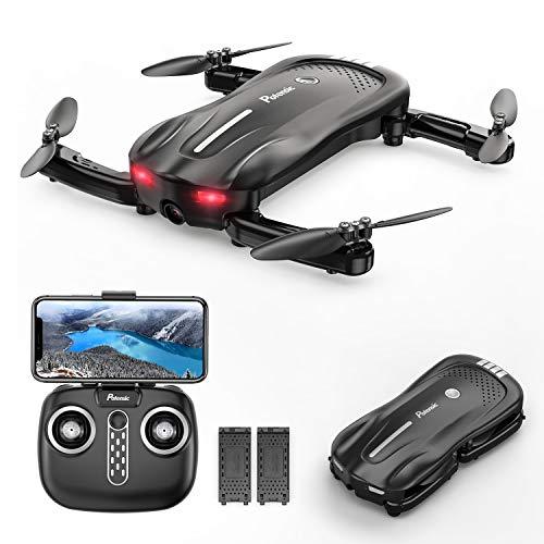 Drone à Flux Optique avec Caméra, Drone Potensic D18, 1080P WiFi PFV, Quadricoptère Pliable avec Piles Doubles, 16-20 min Batterie, Maintien de l'altitude, Drone Anti-collision pour Enfants et Adultes