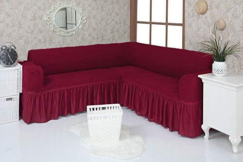 Mixibaby Eck Sofabezug Sofahusse Sesselbezug Sitzbezug Sesselüberwurf Stretchhusse Sofahusse, Farbe:weinrot