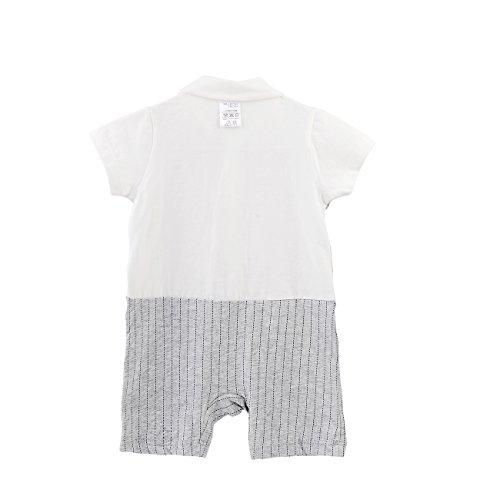 Fairy Baby Baby Outfits Jungen Smoking Anzug Kurze Abendkleider Festliche babymode Kleidung mit Fliege Strampler, Grauer Streifen, 12-18 Monate - 2