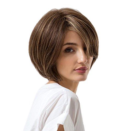 Sharplace Natürliche Modische Gerade Gelockte Kurze Perücke Damen Perücke, Multi Farben - Sepia B (Weiß Macht Haare Die Halloween)