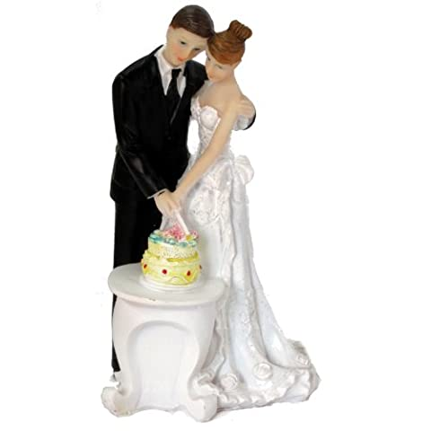 Wedding Cake Topper Elegant Bride & Groom Cutting Cake