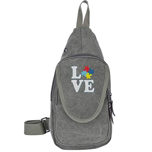 I Love Someone with Autism Canvas Chest Bag for Camping Wandern Casual Bag for Men & Women Coffee