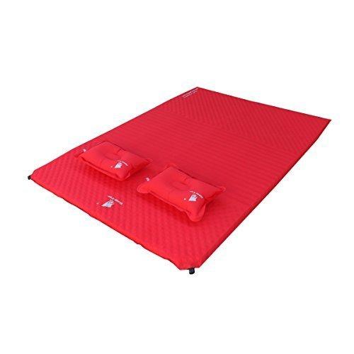 GEERTOP 3,8cm Dick Selbstaufblasbare Isomatte Doppel-Matratze/Matte/Unterlage mit 2 Kissen, selbstaufblasend für Camping (186 x 132 x 3,8 cm) (Rot)