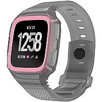 Bainuojia Pulsera para Fitbit Versa, Silicona Blanda para Pulsera Smartwatch Sport Band para/Special Edition Smart Watch, Rosa