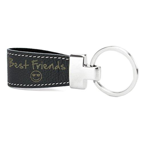 Schlüsselanhänger mit Gravur Leder schwarz vorgraviert für Freunde: Best Friends