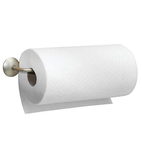 Porte essuie-tout mDesign en acier affiné - la rangement idéal pour les rouleaux d'essuie-tout - peut aussi servir comme porte serviette et porte torchon - porte rouleau, montage au mur ou au placard