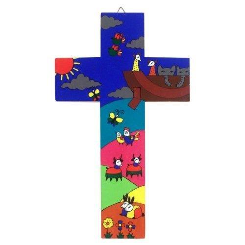 Baptism Gift.Confirmation Present.Fair Trade Cross Noahs Ark Cross 15 cms Wood Cross Wood Cross Christening Gift Childs Cross Confirmation Gift
