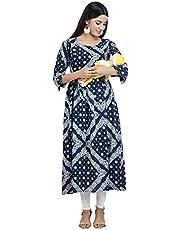 CEE 18 Women's Cotton Rayon A-Line Maternity Kurta/Easy Breast Feeding/Breastfeeding Kurti/Western Dress with Zippers for Nursing Pre and Post Pregnancy
