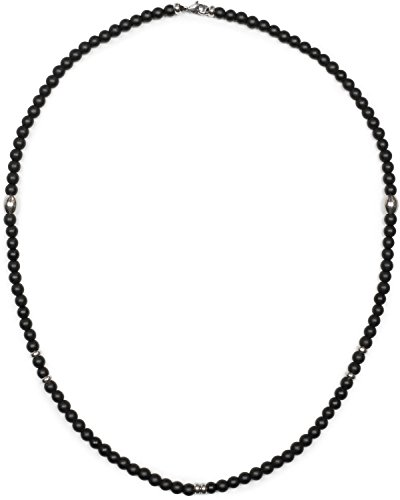 styleBREAKER Halskette mit schwarzen Glas-Perlen, Metall Schmuckperlen und Karabiner Verschluss, Kugelkette, Schmuck, Unisex 05030049, Farbe:Schwarz-Silber