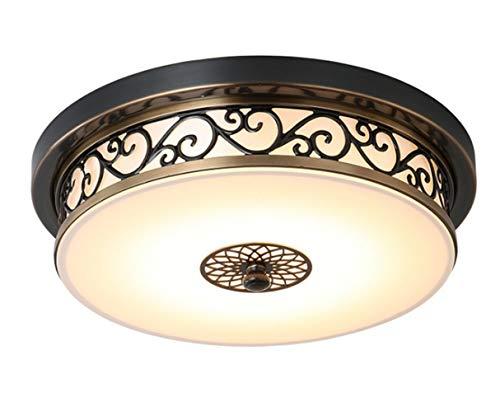 Schlafzimmerlampe Rund LED Rustikal Deckenleuchte Landhaus Lampe Amerikanisch Leuchte Wohnzimmerlampe Deckenlampe Schlafzimmer Wohnzimmer Retro (Dreifarbiges Farbwechsel, 40CM)