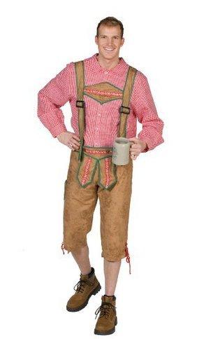 Herrenhemd rot-weiß kariert Oktoberfest Bayern München Wiesn Karneval Fastnacht Kostüm für Erwachsene (Kostüm Bauer Tiroler)